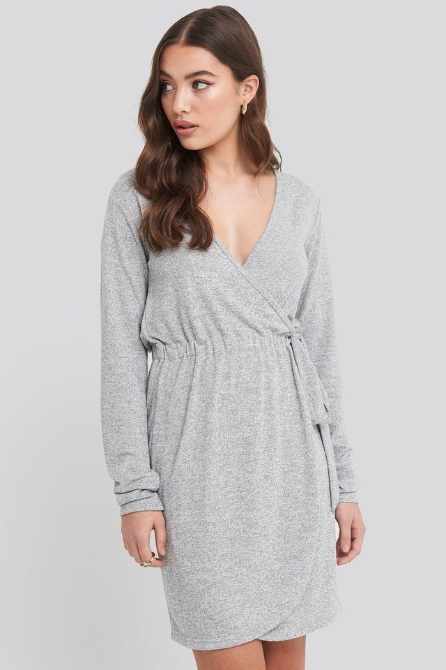 Grey Melange Overlap Light Knitted Dress