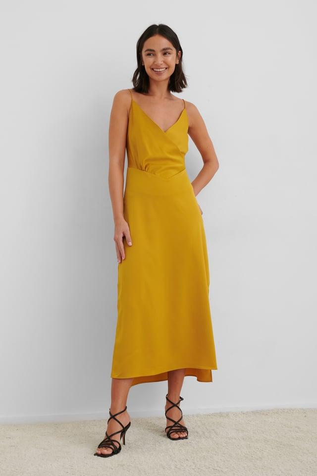 Overlap Satin Slip Dress Yellow