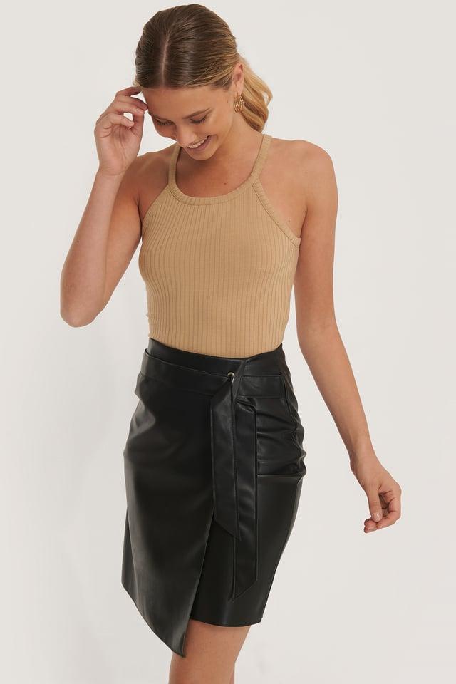 Black Overlap Tie PU Skirt