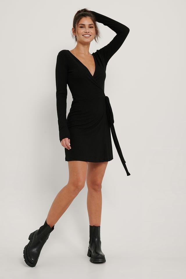 Black Recyclée Robe Portefeuille Courte À Nouer