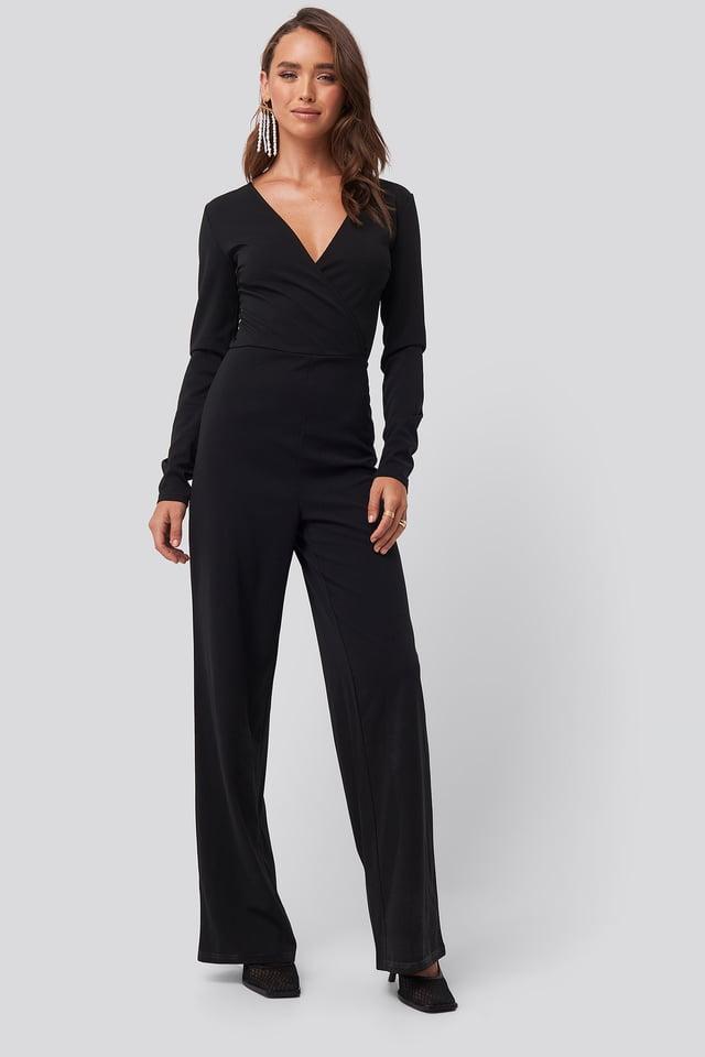 Overlap Wide Leg Jumpsuit Black