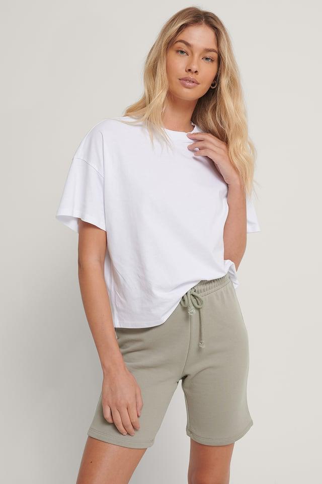 Biologique T-shirt Surdimensionné À Manches 3/4 White