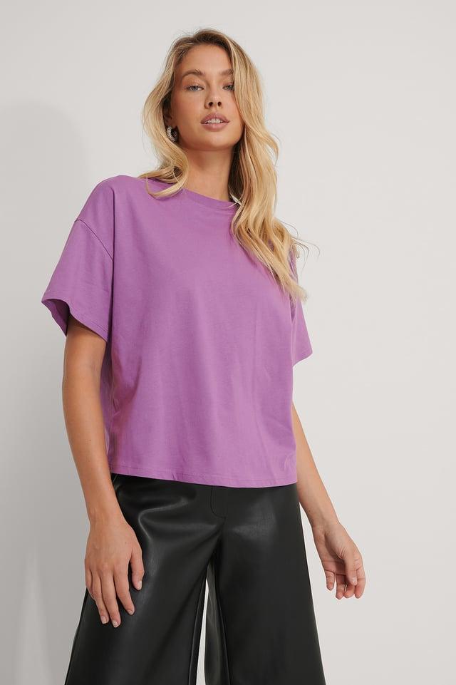Purple Biologique T-shirt Surdimensionné À Manches 3/4