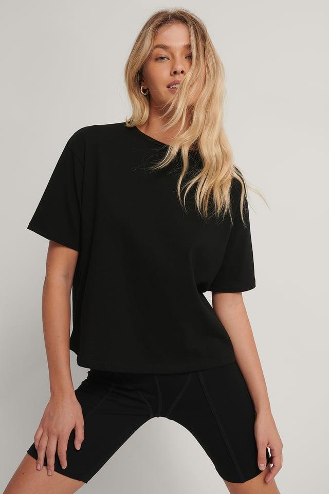 Black Biologique Tee-shirt Surdimensionné