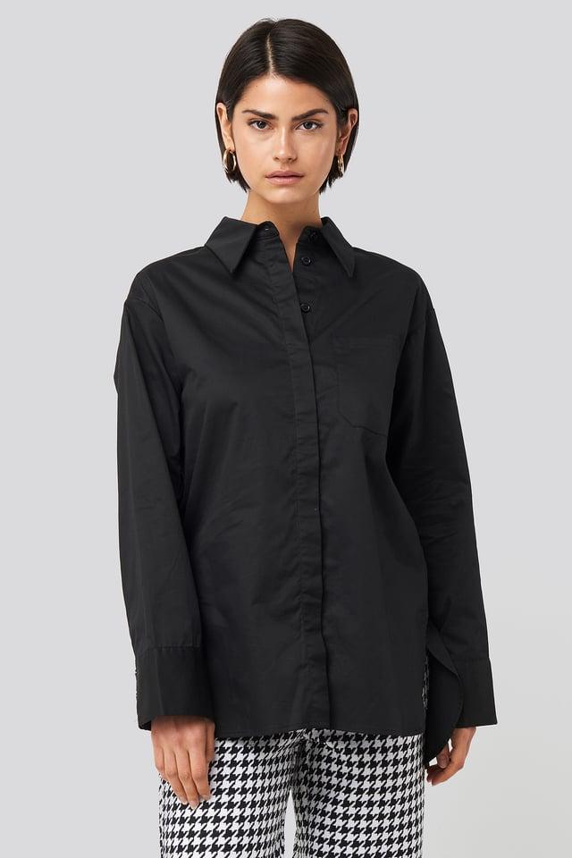 Black Chemise Surdimensionnée En Coton À Poche
