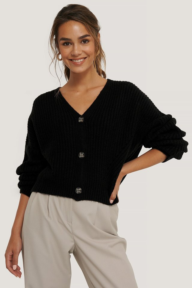 Cardigan Court Surdimensionné Black
