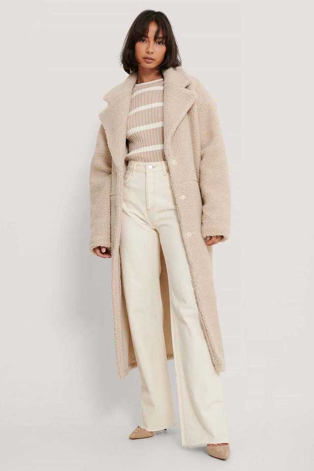 Light Beige Manteau Long En Peluche