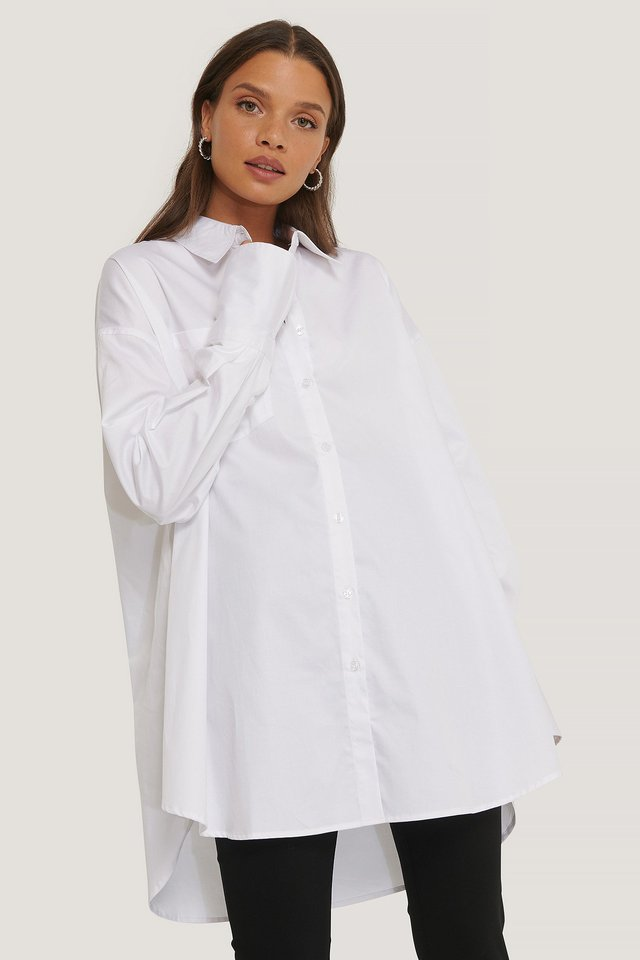 White Recyclée Chemise Surdimensionnée À Poches