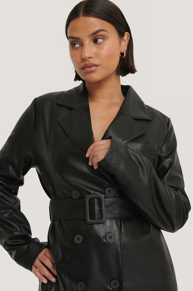 Oversized PU Leather Jacket Black