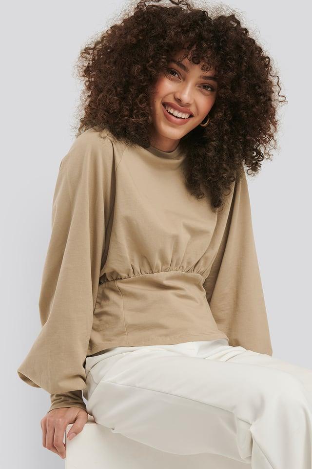 Beige Oversized Raglan Sleeve Sweater