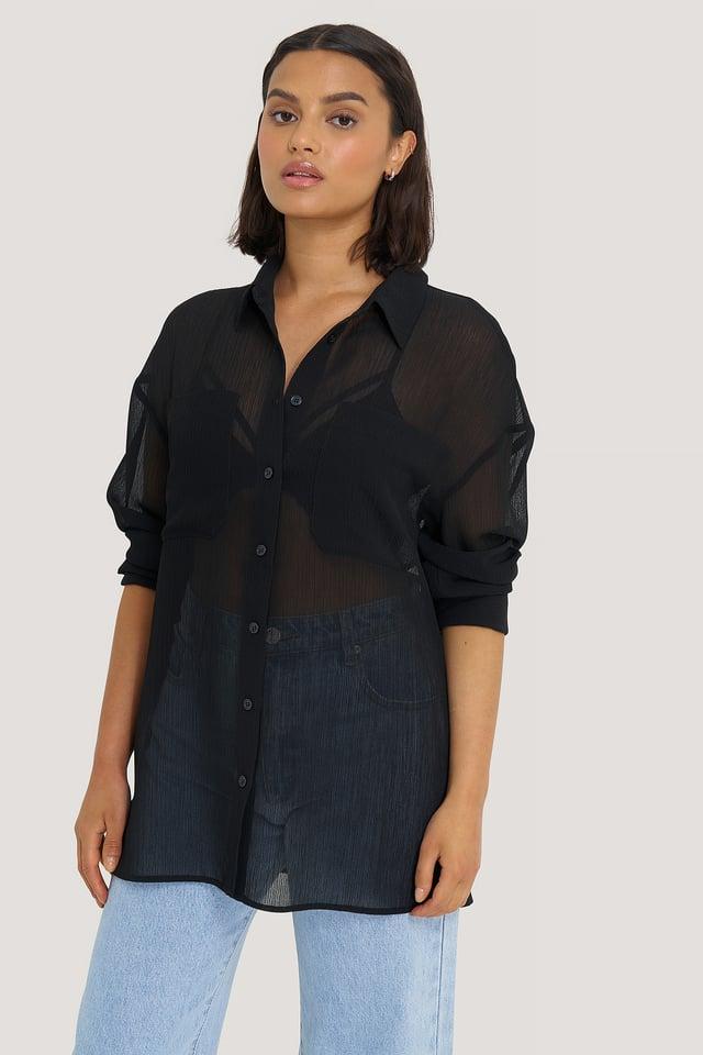 Black Oversized Structured Pocket Blouse