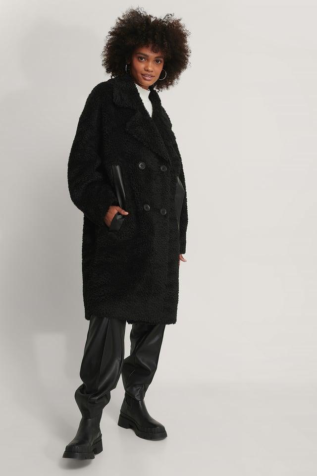 Black Manteau Long En Peluche
