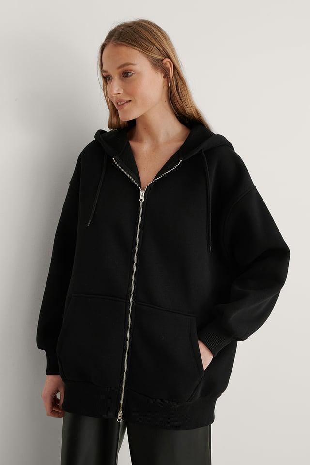 Black Biologique Sweatshirt À Capuche Zippé Oversize