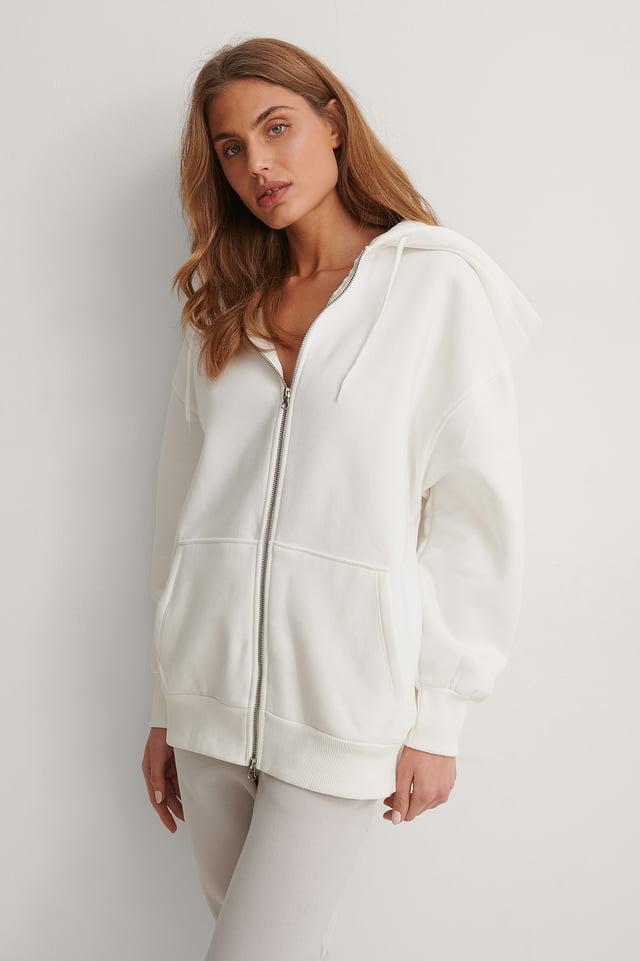 Offwhite Biologique Sweatshirt À Capuche Zippé Oversize