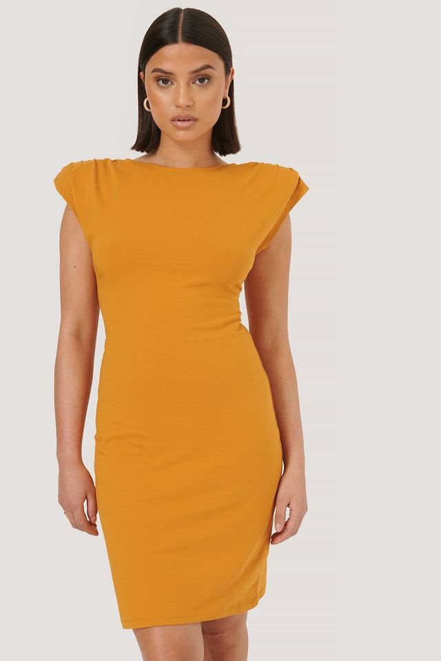 Robe À Épaules Rembourrées Orange