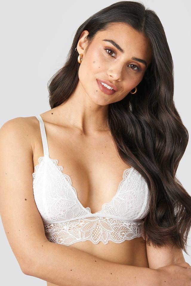White Paisley Lace Bra