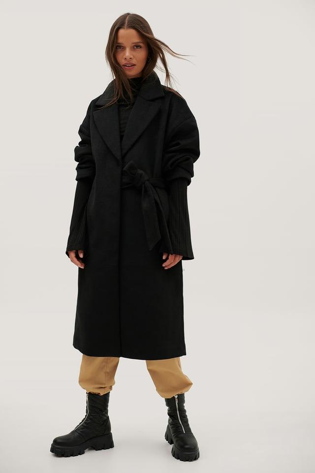Manteau En Laine À Large Ceinture À Fronces Black