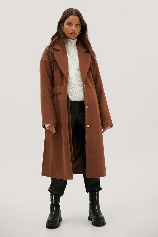 Manteau En Laine À Large Ceinture À Fronces Rust