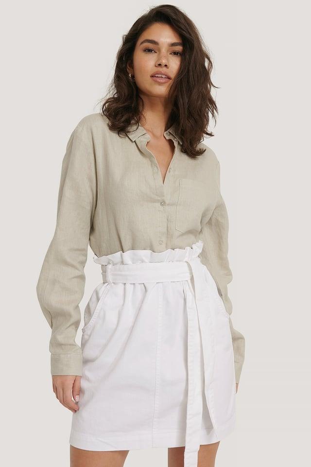 Paper Bag Waist Denim Mini Skirt White
