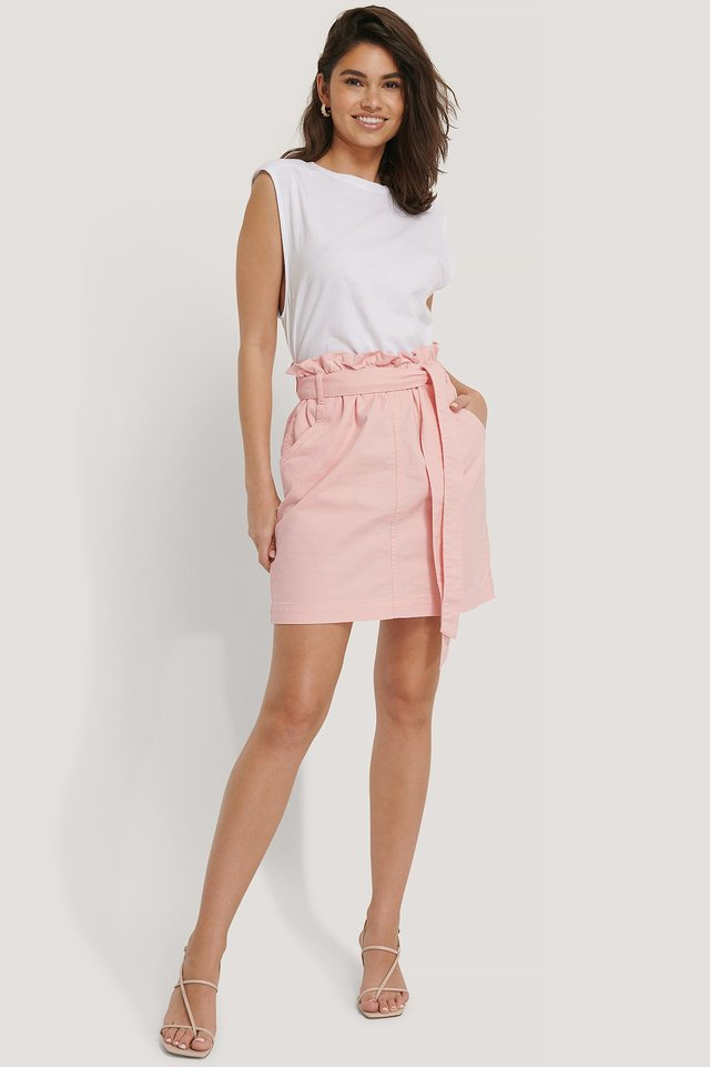 Pink Paper Bag Waist Denim Mini Skirt