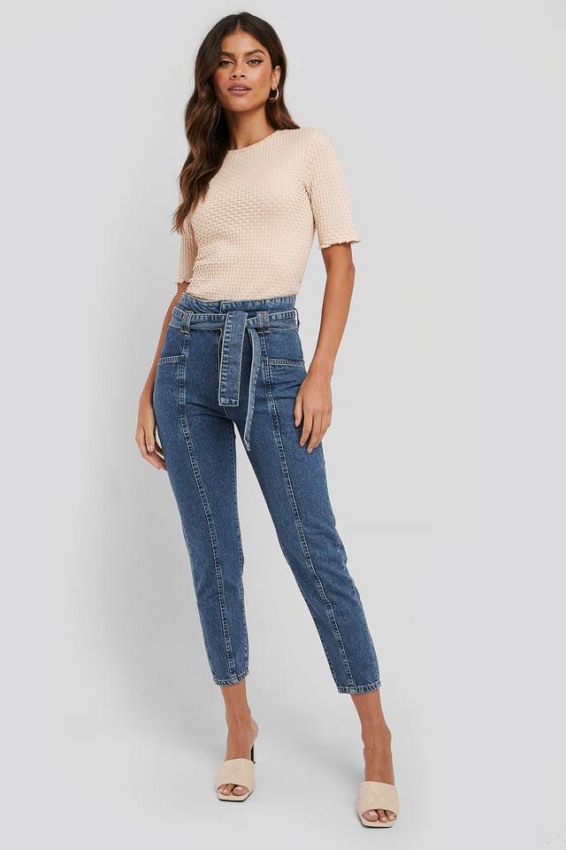 Paper Waist Jeans Blue