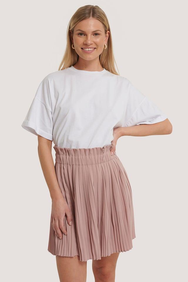 Paper Waist Mini Skirt Dusty Pink