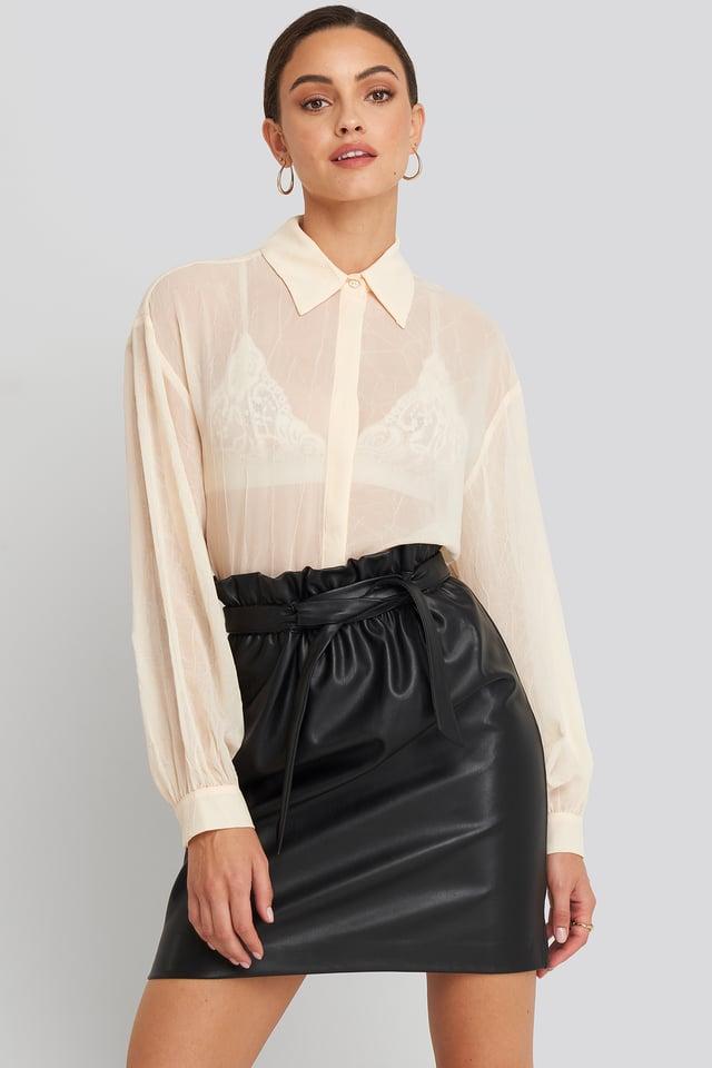 Paper Waist PU Skirt Black