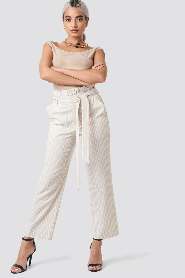 Paper Waist Striped Trousers Beige