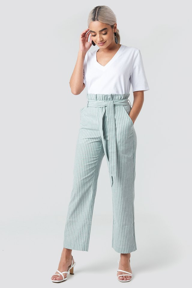 Paper Waist Striped Trousers Green