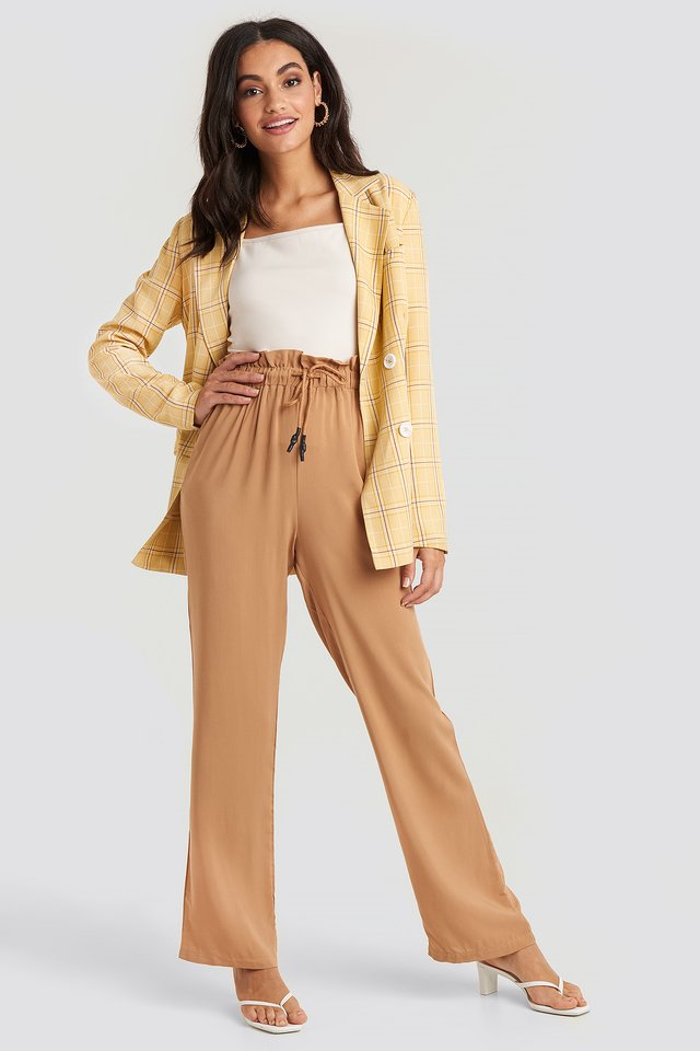 Paperbag Wide Leg Trousers Tan