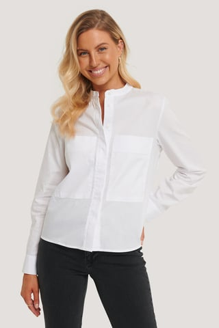 White Patch Pocket Band Collar Shirt
