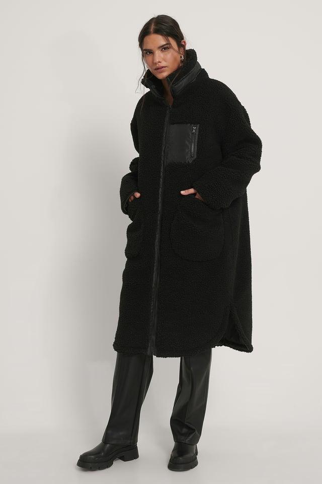 Manteau En Peluche À Poches Plaquées Black