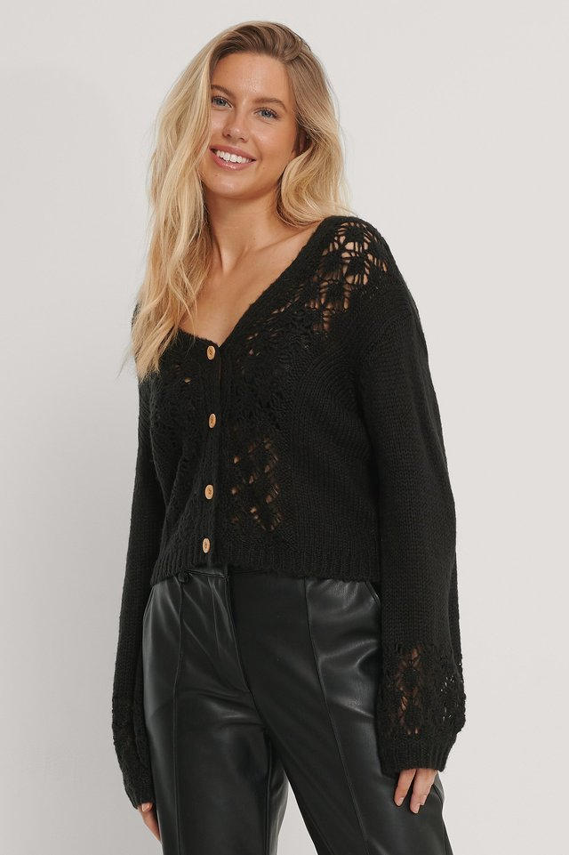 Cardigan Court En Tricot Black
