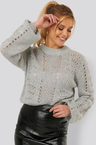 Grey Pattern Knitted Round Neck Sweater