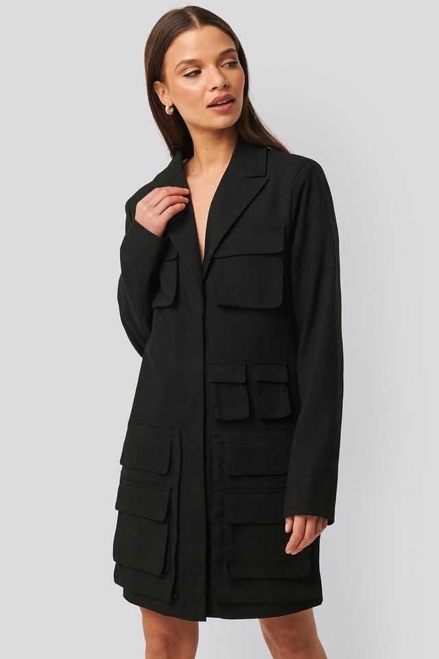 Black Pocket Blazer Dress