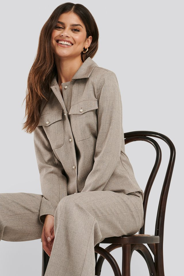Grey Pearl Buttoned Overshirt