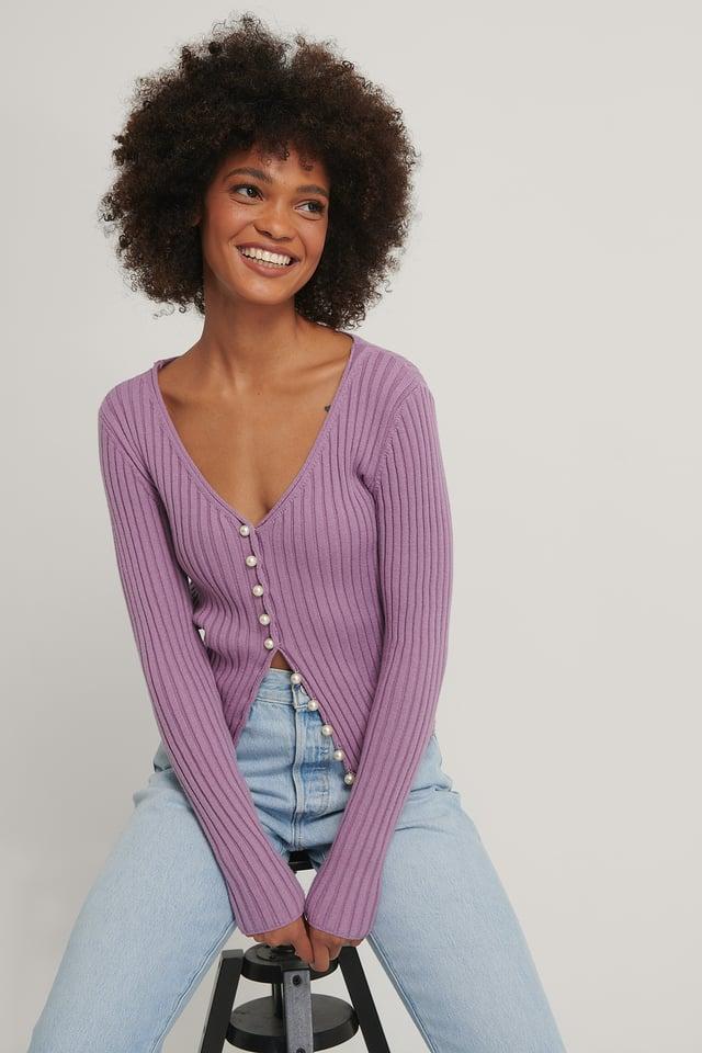 Cardigan En Maille Ornementé De Perles Purple