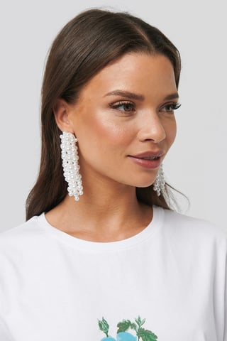 White Pearl Dropping Earrings