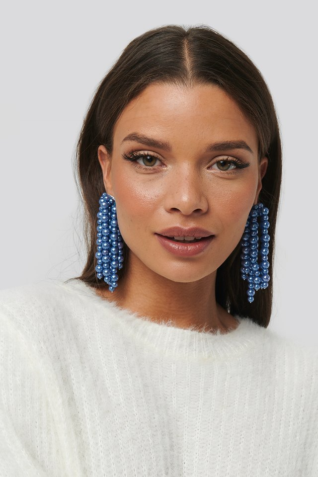 Pearl Dropping Earrings Blue