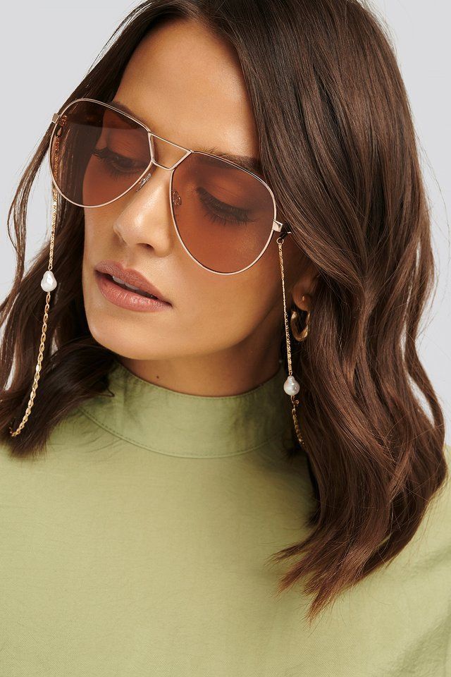 Pearl Sunglass Chain Gold