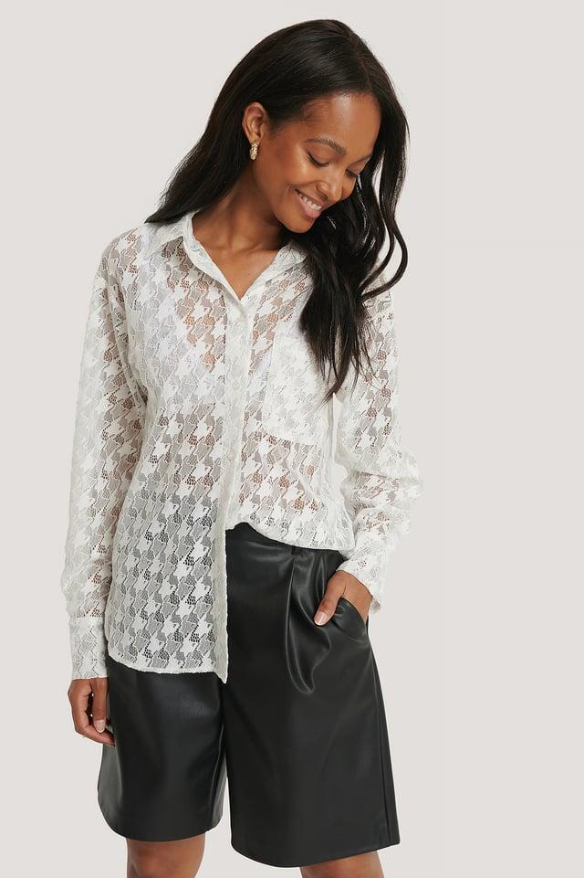 White Pepita Lace Pocket Blouse