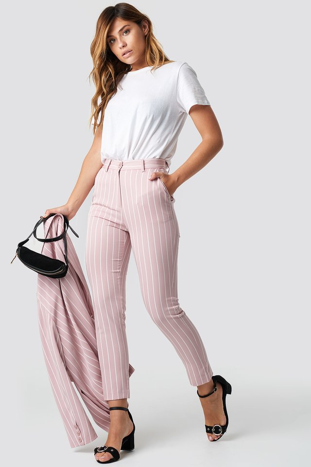 Pink Striped Suit Pants Stripe