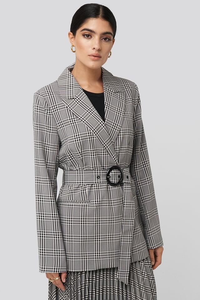 Plaid Buckle Belted Blazer Black/White Check