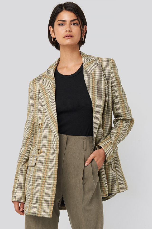 Plaid Double Breasted Oversized Blazer Green