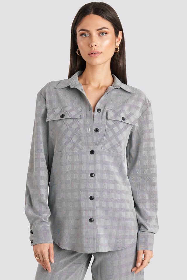 Plaid Overshirt Grey Check