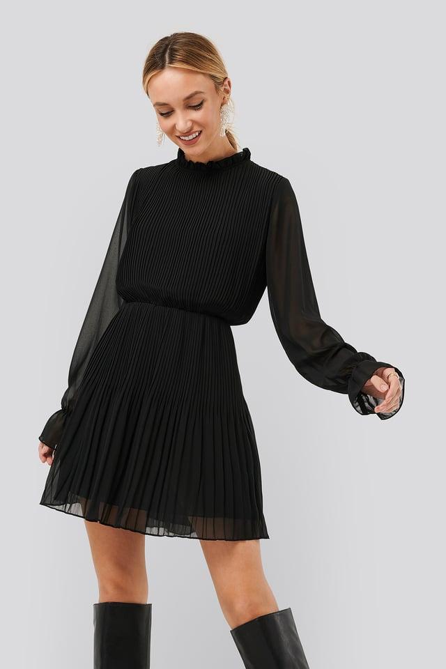 Black Robe Taille Plissée Élastique
