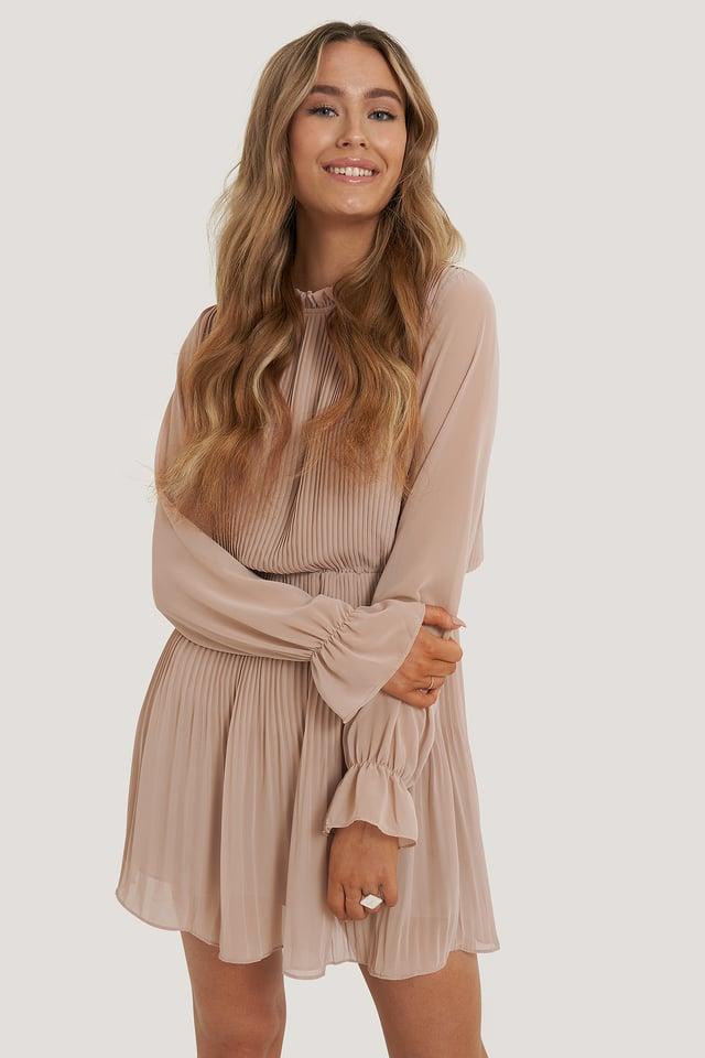 Dusty Pink Robe Taille Plissée Élastique