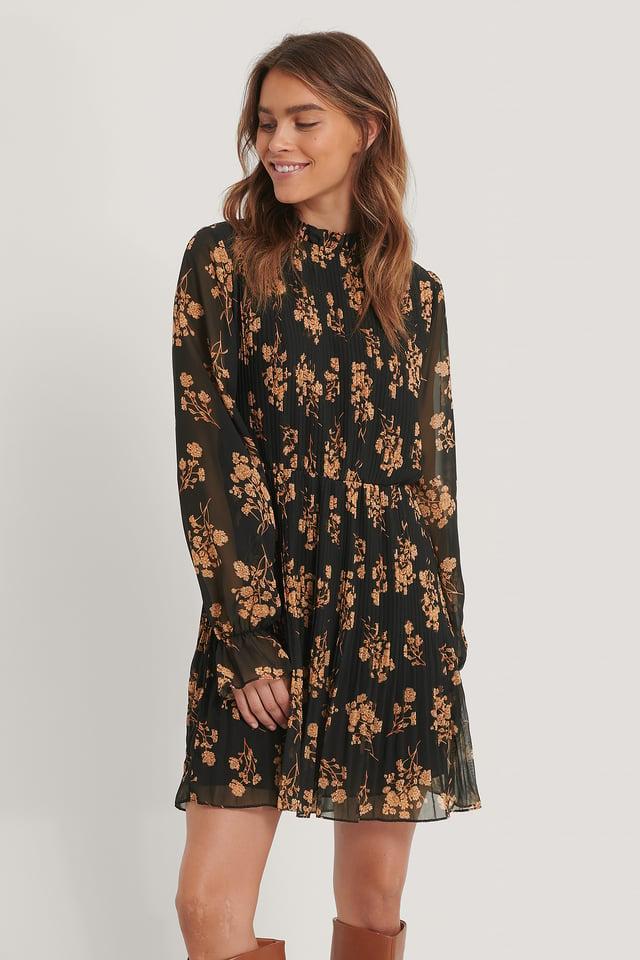 Black Flower Print Robe Taille Plissée Élastique