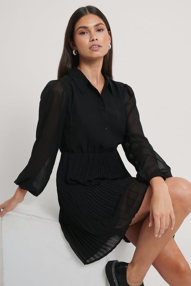 Robe Chemise Plissée Black