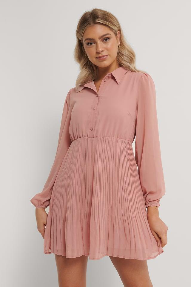 Robe Chemise Plissée Dusty Pink